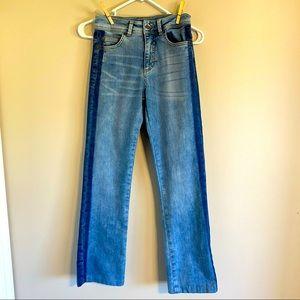 Benetton denim jeans striped sides flare leg sz 26